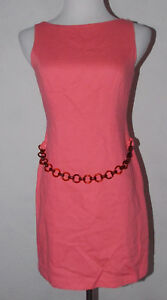 Laundry Shelli Segal Womens 8P Dress Pink Front Belt 1995 Vintage Party Club