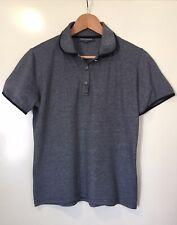 Womens 'Duchamp' Size 12 Charcoal Grey Golf Polo Shirt Button Up Black Trim