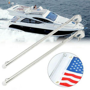 "2X S/S Flag Pole 22-25mm Tube 15-1/4"" Adjustable for Marine Yacht Boat Accessory"