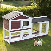 Fir Wood Rabbit Hutch Outdoor Bunny Small Poultry Cage with Removable Tray Ramp
