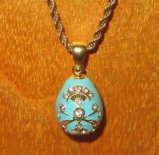 Russian FABERGE inspired ENAMEL LIGHT BLUE & Swarovsky Crystal EGG pendant chain