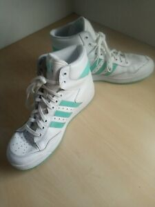 Ladies adidas Hi Top Retro Style Green White Trainers Uk 6 EU 39 1/3