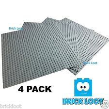 4 lot 10'' x 10'' Brick Base plate 32 x 32 Gray Baseplate fits LEGO & Others