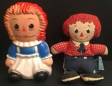 Vintage Raggedy Ann & Andy Money Coin Bank & Bean Doll RARE