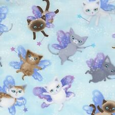 Fabric Fairy Cats Tossed on Heavenly Sky Blue Cotton by the 1/4 yard BIN