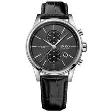 Runde Armbanduhren mit Armband aus echtem Leder in Grau