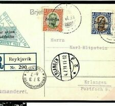 ICELAND AVIATION Postcard *Zeppelin 1931* Air Mail AIRSHIP {samwells-covers}Z91