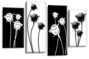 Le Reve Floral Flower Wall Art Grey Teal Yellow Black Abstract Canva Split Panel
