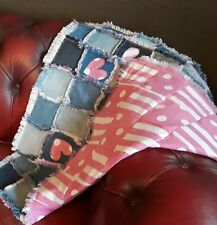 Pretty Patchwork Denim Blanket, Pink and DenimThrow,Floor Mat,Handmade Denim Rug