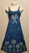 Women Clothing Batik Print Maxi Embrodraied Long Dress Free Size Turquoise Blue