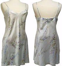 AUGUST SILK 100% Silk Pale Green Floral Chemise Babydoll Slip Nightie Medium (M)