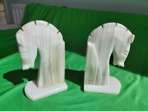 Pair Marble White Knight Chess Piece Bookends S7