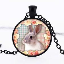 Rabbit photo Black Dome Glass Cabochon Necklace chain Pendant #430