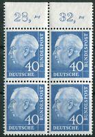Bund Nr. 260 x w ORVB Heuss II Oberrand Viererblock postfrisch BRD 1956
