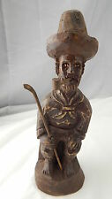 Antique French Folk Art Carved Wooden Figure Man With Hat, Staff & Pipe VINTAGE