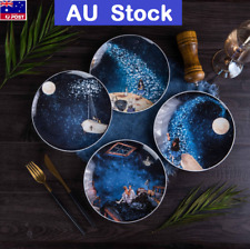 4 x Hand paint Plates Space Flower 8 inch Home Décor Birthday Gift