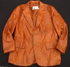 Vintage Sears The Leather Shop Brown Leather Western Style Blazer Coat