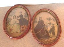 Set of 2 Vintage Oval Framed Victorian  Prints Hugo W Schmidt  Co  Detriot Mich.
