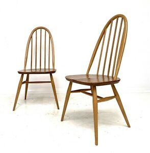 VINTAGE PAIR OF ERCOL QUAKER WINDSOR 365 KITCHEN DINING CHAIRS ELM BEECH 1960s