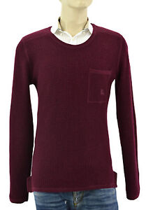 $550 BURBERRY Brit Burgandy 100% Wool Mens Sweater Size M NEW COLLECTION