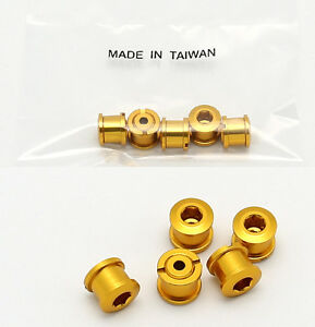 BIKE ALUMINUM DOUBLE CHAIN CHAINRING CRANK NUTS BOLTS SCREWS 5 PAIRS - GOLD