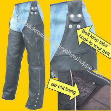 MENS WOMENS LEATHER MOTORCYCLE BIKER BELT LOOP CHAPS with ZIP OUT LINING