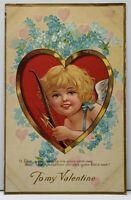 To My Valentine,  Smiling Cherub in Heart Embossed c1910 Postcard F20