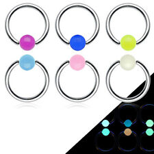 "6 Pc (3 Pairs) Glow In The Dark Balls 16g 3/8"" Septum Lip Nipple Captive Rings"