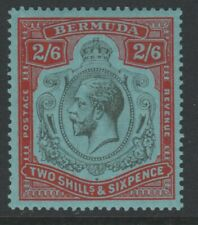 More details for bermuda mint gv key plate 1924-32 2/6 black & carmine on pale blue sg89
