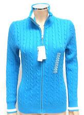 Womens Foxcroft Full Zip Turquoise Cable Knit Cardigan Small Hawaiian Blue BNWT
