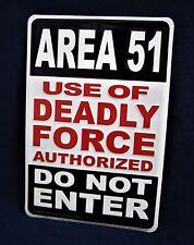AREA 51  - *US MADE* Embossed Metal Tin Warning Sign - Man Cave Garage Bar Yard