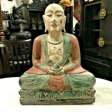 OLD, LARGE PAINTED WOODEN MONK STATUE