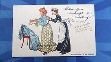 Vintage Write Away Comic Postcard 1905 CORSET GIRDLE Maid Theme WRENCH SERIES