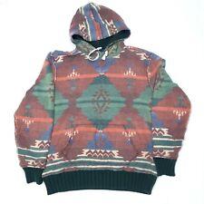 Rare Vintage Polo Ralph Lauren Native America Aztec Print Hoodie Sweatshirt L
