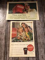 Vintage & Original 1947 COCA-COLA Color Art Ad:  TEENS At the SODA FOUNTAIN LOT!