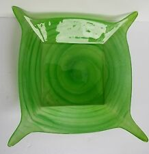 "Square Green Swirl Glass Serving Dish Platter  Bowl Heavy Pointed Corners 12""x12"