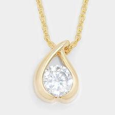 Crystal CZ Pendant Gold Tone Necklace Wedding Bridal Fashion Women Jewelry
