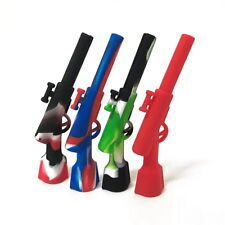 COOL Silicone Smoking Pipe Gun Shape Tobacco Cigarette Mini Pipes Weed Hand