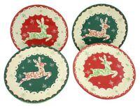 "Tis The Season ~ Holiday Christmas Reindeer Ceramic 8"" Salad Plates Set of 4"