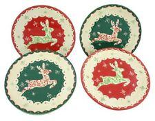 Tis The Season~ Vacaciones Reno De Navidad Cerámica 20.3cm Platos Juego de 4