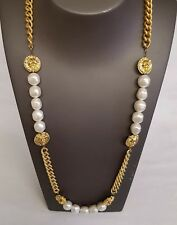 Vintage Anne klein Lion head and faux pearls beads necklace