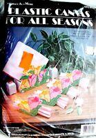 NEEDLECRAFT PLASTIC CANVAS KIT S91-612 4 TULIP FLOWER NAPKIN RINGS & HOLDER NIP