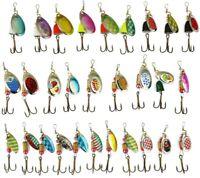 30Pcs Fishing Lures Kit Metal Spinner Fishing Lure Pike Salmon Bass T10 Colorful