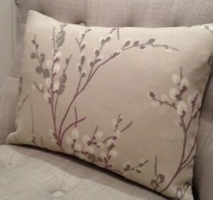 """12x18"""" cushion cover in Laura Ashley Pussy Willow Natural/Austen Natural"""