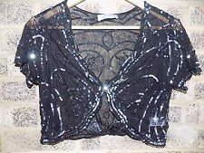 Vintage style pewter sequin beaded shrug capelet beaded shawl bolero size 12