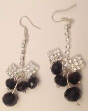pampille nœud cristaux diamant perle noir couleur argent oreilles percées 5355