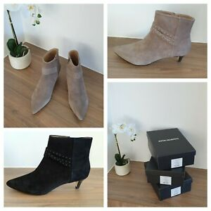 NEW COUNTRY ROAD Allegra Ankle Boots, Size 39 40 41 | Black Tan Suede | RRR$229