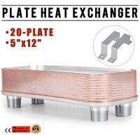 "5''×12'' 20 Plate Heat Exchanger W/Brackets 1""MPT 316L Stainless Steel"