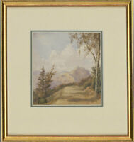 Framed Mid 20th Century Watercolour - Mountain Landscape