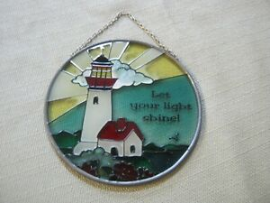 Vintage Stained Glass LET YOUR LIGHT SHINE! Window Suncatcher, Lighthouse